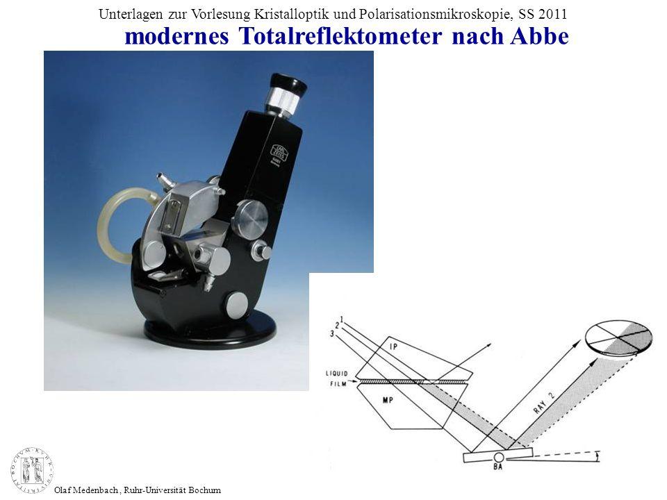 Olaf Medenbach, Ruhr-Universität Bochum Unterlagen zur Vorlesung Kristalloptik und Polarisationsmikroskopie, SS 2011 modernes Totalreflektometer nach