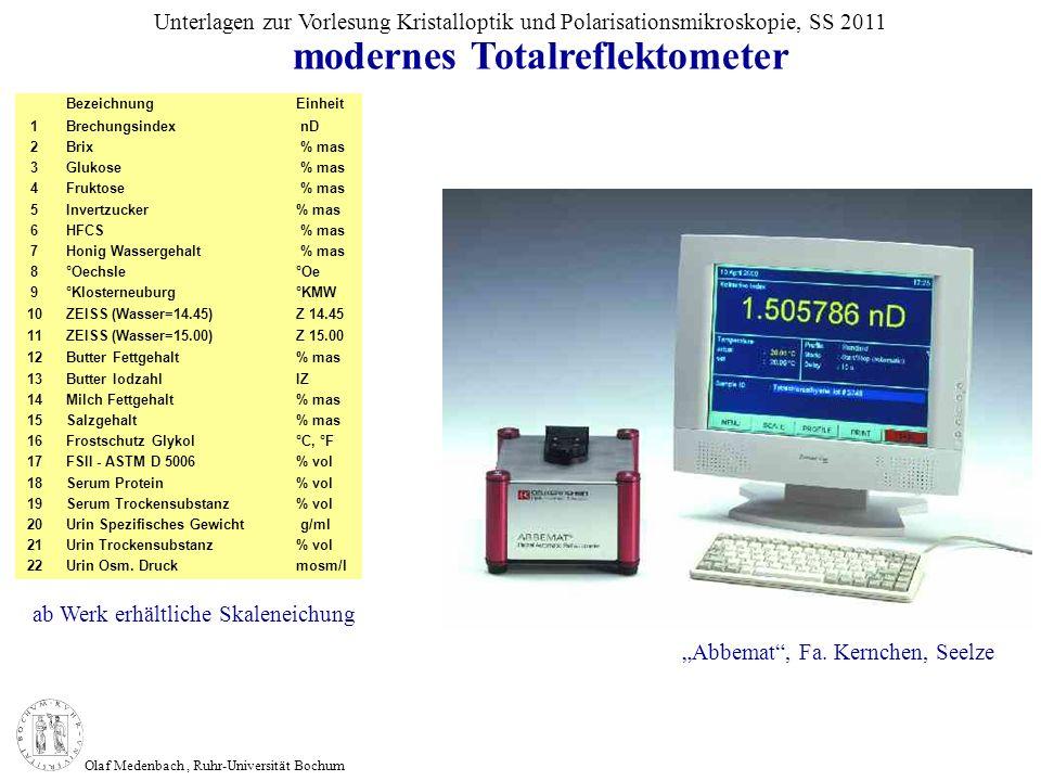 Olaf Medenbach, Ruhr-Universität Bochum Unterlagen zur Vorlesung Kristalloptik und Polarisationsmikroskopie, SS 2011 BezeichnungEinheit 1Brechungsinde