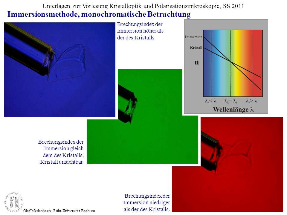 Olaf Medenbach, Ruhr-Universität Bochum Unterlagen zur Vorlesung Kristalloptik und Polarisationsmikroskopie, SS 2011 Brechungsindex der Immersion höhe