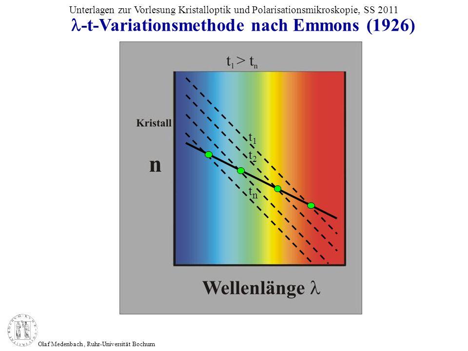 Olaf Medenbach, Ruhr-Universität Bochum Unterlagen zur Vorlesung Kristalloptik und Polarisationsmikroskopie, SS 2011 -t-Variationsmethode nach Emmons
