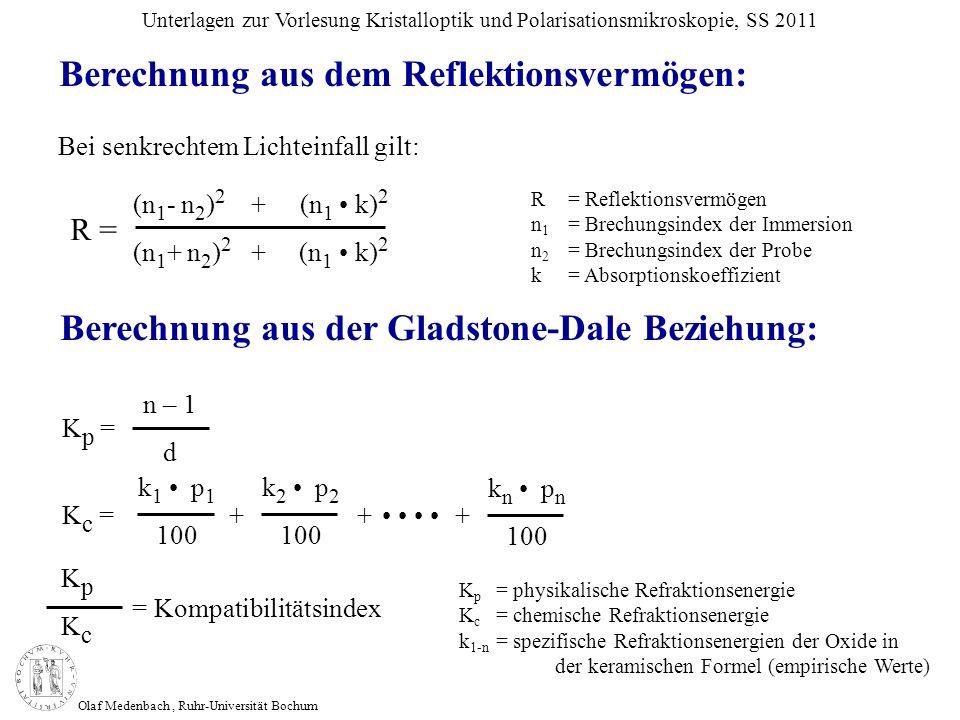 Olaf Medenbach, Ruhr-Universität Bochum Unterlagen zur Vorlesung Kristalloptik und Polarisationsmikroskopie, SS 2011 (n 1 - n 2 ) 2 + (n 1 k) 2 (n 1 +