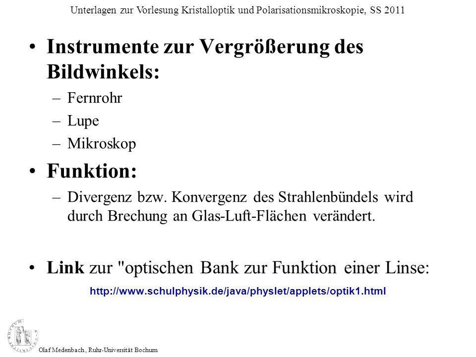 Olaf Medenbach, Ruhr-Universität Bochum Unterlagen zur Vorlesung Kristalloptik und Polarisationsmikroskopie, SS 2011 Instrumente zur Vergrößerung des