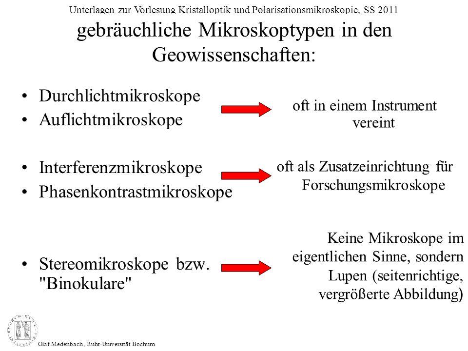 Olaf Medenbach, Ruhr-Universität Bochum Unterlagen zur Vorlesung Kristalloptik und Polarisationsmikroskopie, SS 2011 gebräuchliche Mikroskoptypen in d