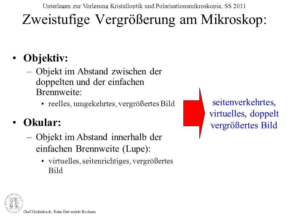 Olaf Medenbach, Ruhr-Universität Bochum Unterlagen zur Vorlesung Kristalloptik und Polarisationsmikroskopie, SS 2011 (n 1 - n 2 ) 2 + (n 1 k) 2 (n 1 + n 2 ) 2 + (n 1 k) 2 R = Bei senkrechtem Lichteinfall gilt: Berechnung aus dem Reflektionsvermögen: Berechnung aus der Gladstone-Dale Beziehung: K p = n – 1 d k n p n 100 k 1 p 1 100 k 2 p 2 100 + ++K c = R = Reflektionsvermögen n 1 = Brechungsindex der Immersion n 2 = Brechungsindex der Probe k= Absorptionskoeffizient K p = physikalische Refraktionsenergie K c = chemische Refraktionsenergie k 1-n = spezifische Refraktionsenergien der Oxide in der keramischen Formel (empirische Werte) KpKcKpKc = Kompatibilitätsindex
