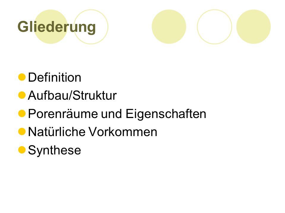 Gliederung Definition Aufbau/Struktur Porenräume und Eigenschaften Natürliche Vorkommen Synthese