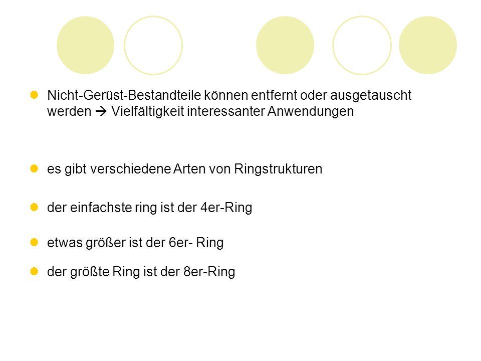 Nicht-Gerüst-Bestandteile können entfernt oder ausgetauscht werden Vielfältigkeit interessanter Anwendungen es gibt verschiedene Arten von Ringstrukturen der einfachste ring ist der 4er-Ring etwas größer ist der 6er- Ring der größte Ring ist der 8er-Ring