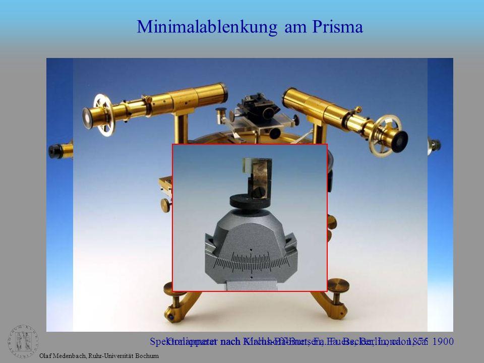 Olaf Medenbach, Ruhr-Universität Bochum Minimalablenkung am Prisma Spektralapparat nach Kirchhoff-Bunsen, Fa. Becker, London, ca. 1900Goniometer nach