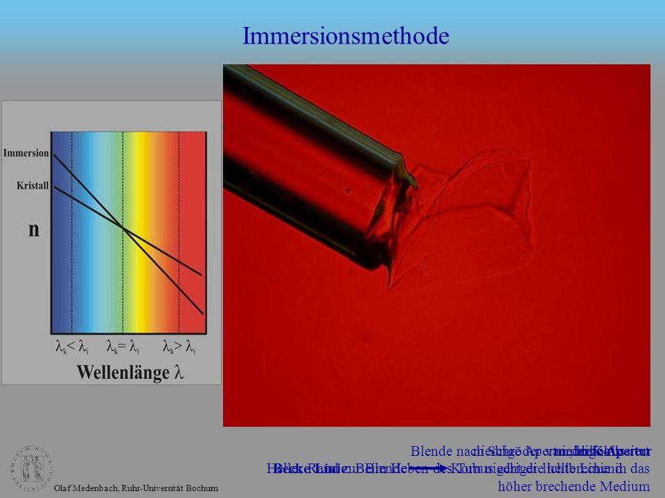 Olaf Medenbach, Ruhr-Universität Bochum Immersionsmethode hohe Aperturniedrige Aperturniedrige Apertur, defokussiert Becke Linie: Beim Heben des Tubus