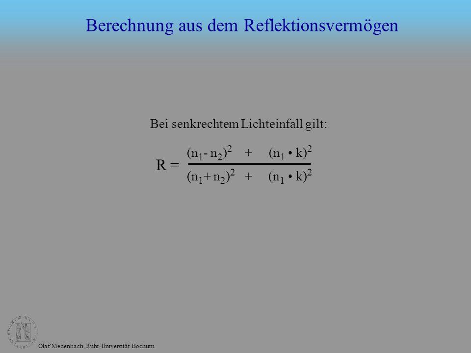 Olaf Medenbach, Ruhr-Universität Bochum (n 1 - n 2 ) 2 + (n 1 k) 2 (n 1 + n 2 ) 2 + (n 1 k) 2 R = Bei senkrechtem Lichteinfall gilt: Berechnung aus dem Reflektionsvermögen