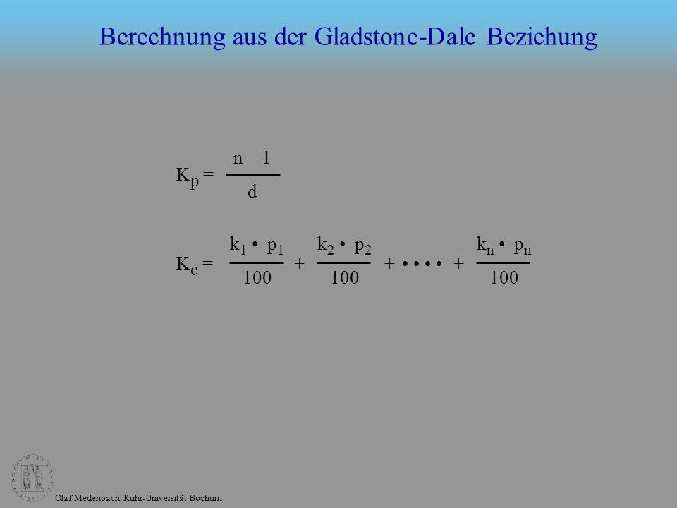 Olaf Medenbach, Ruhr-Universität Bochum Berechnung aus der Gladstone-Dale Beziehung K p = n – 1 d k 1 p 1 100 k n p n 100 k 2 p 2 100 + ++K c =