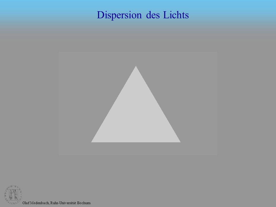 Olaf Medenbach, Ruhr-Universität Bochum Dispersion des Lichts