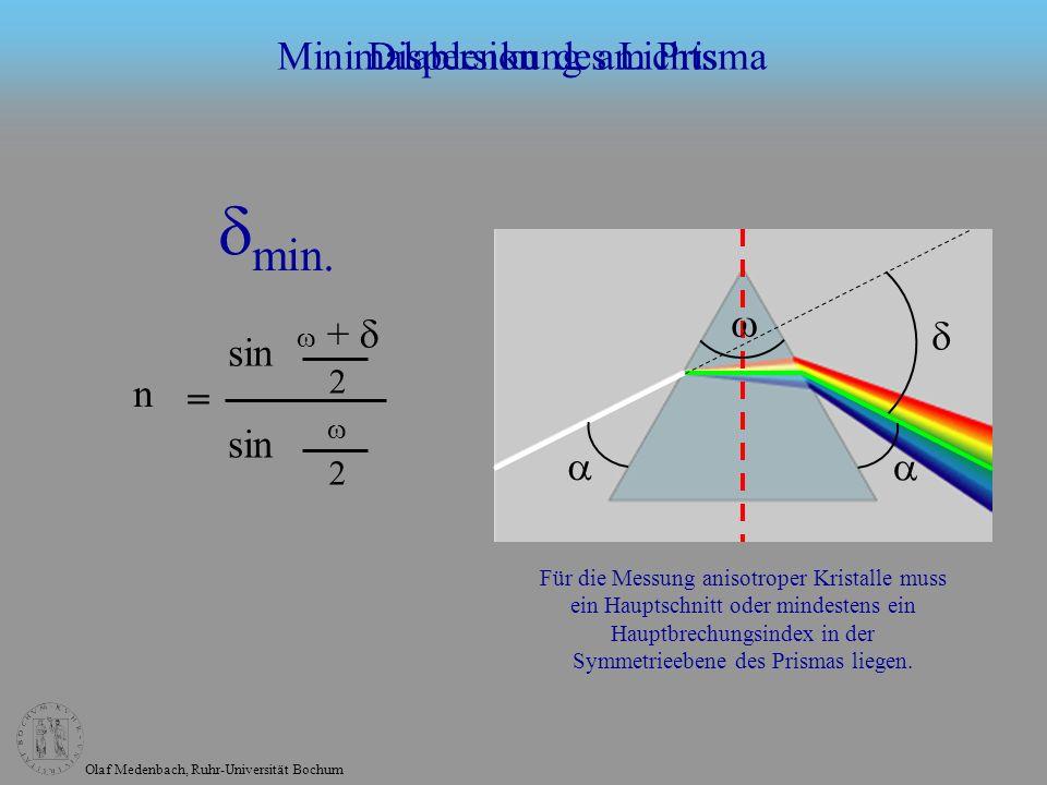 Olaf Medenbach, Ruhr-Universität Bochum Minimalablenkung am Prisma + 2 n = sin 2 Für die Messung anisotroper Kristalle muss ein Hauptschnitt oder mindestens ein Hauptbrechungsindex in der Symmetrieebene des Prismas liegen.