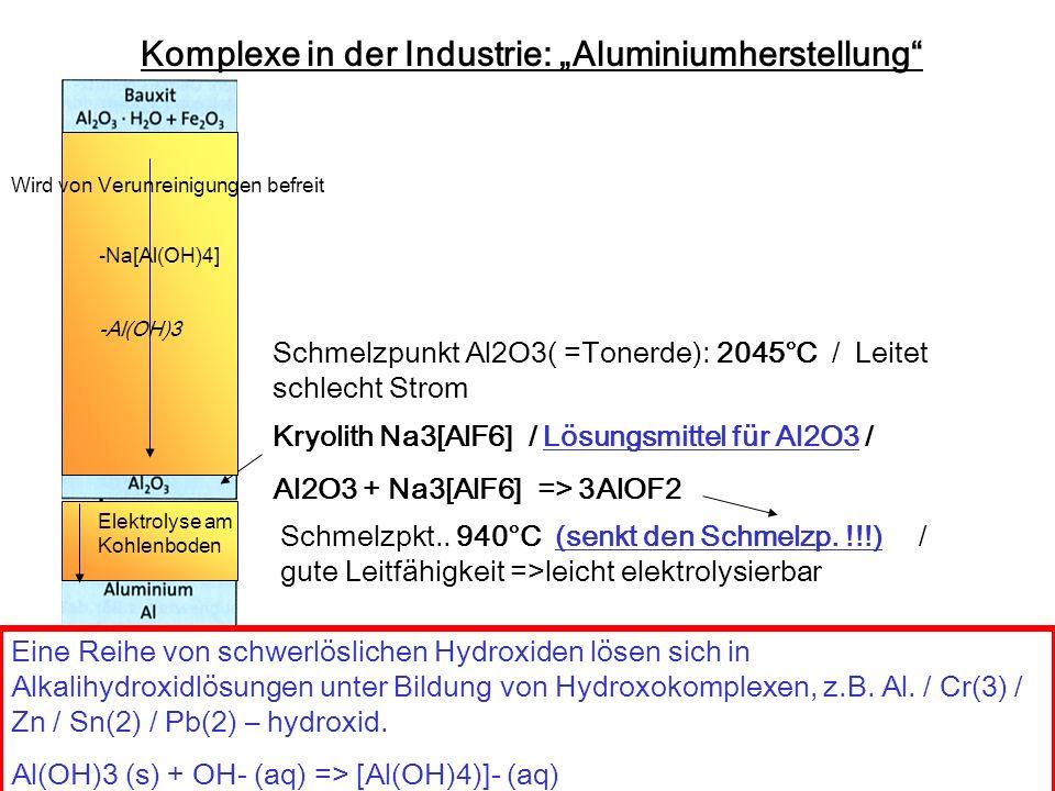 Komplexe in der Industrie: Aluminiumherstellung Kryolith Na3[AlF6] / Lösungsmittel für Al2O3 / Al2O3 + Na3[AlF6] => 3AlOF2 Elektrolyse am Kohlenboden