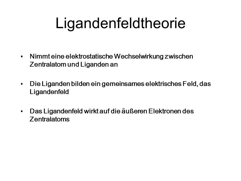 Ligandenfeldtheorie Nimmt eine elektrostatische Wechselwirkung zwischen Zentralatom und Liganden an Die Liganden bilden ein gemeinsames elektrisches F