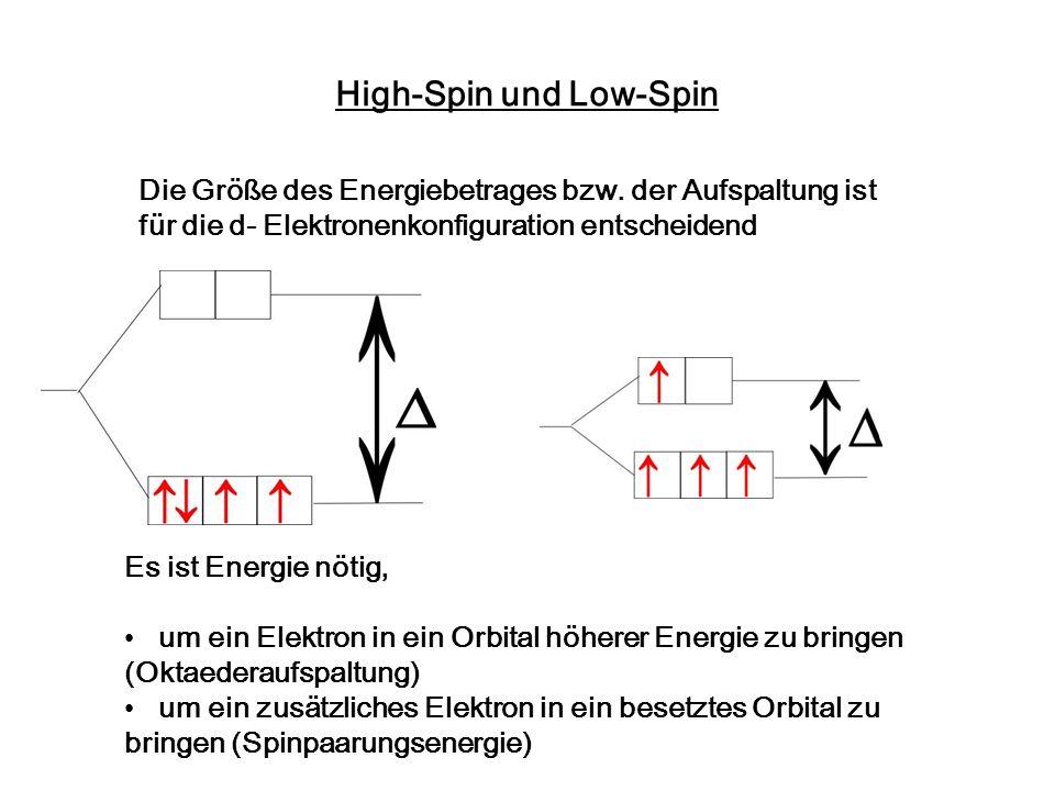 High-Spin und Low-Spin Die Größe des Energiebetrages bzw. der Aufspaltung ist für die d- Elektronenkonfiguration entscheidend Es ist Energie nötig, um