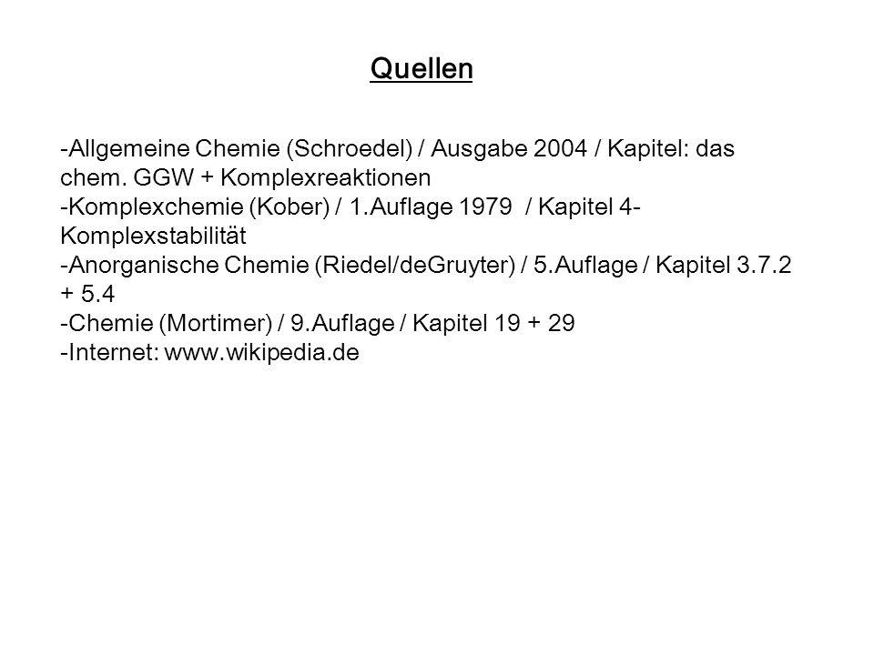 Quellen -Allgemeine Chemie (Schroedel) / Ausgabe 2004 / Kapitel: das chem. GGW + Komplexreaktionen -Komplexchemie (Kober) / 1.Auflage 1979 / Kapitel 4