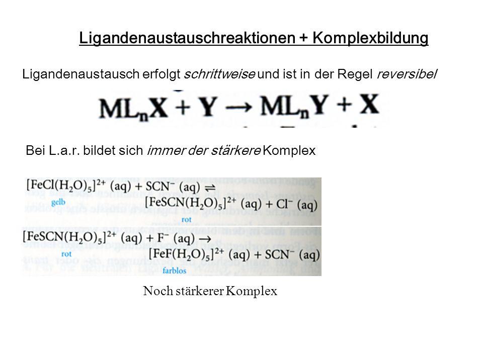Ligandenaustauschreaktionen + Komplexbildung Bei L.a.r. bildet sich immer der stärkere Komplex Noch stärkerer Komplex Ligandenaustausch erfolgt schrit