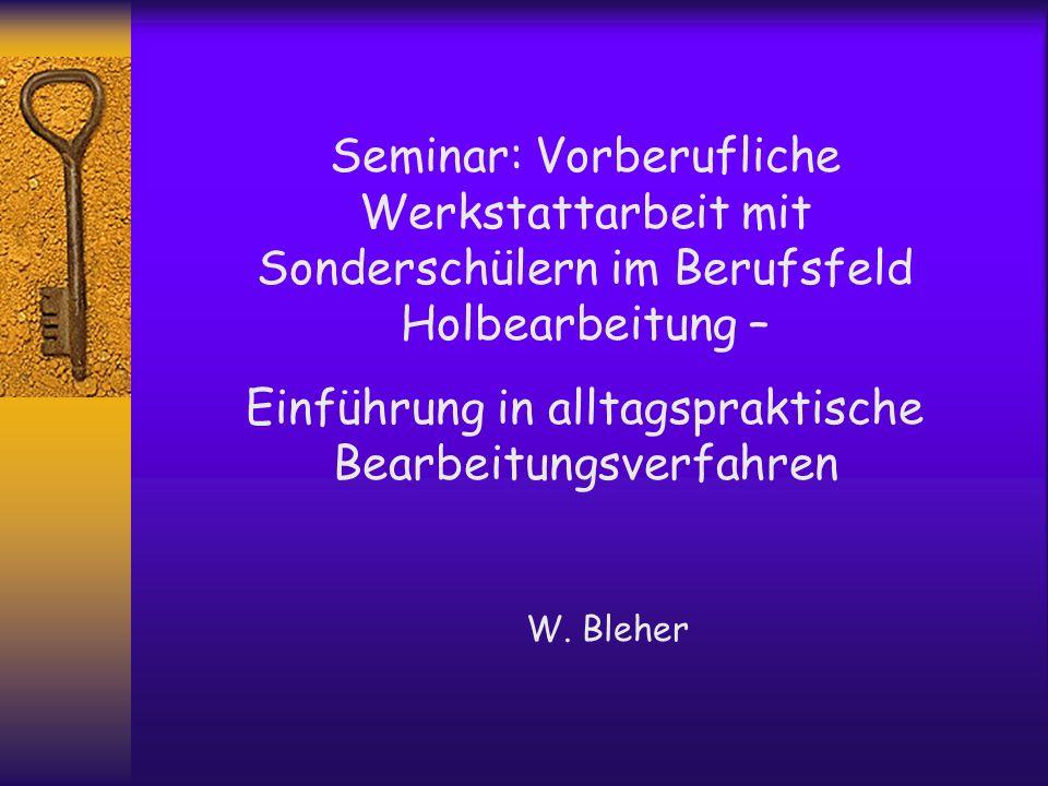 Seminar: Vorberufliche Werkstattarbeit mit Sonderschülern im Berufsfeld Holbearbeitung – Einführung in alltagspraktische Bearbeitungsverfahren W. Bleh