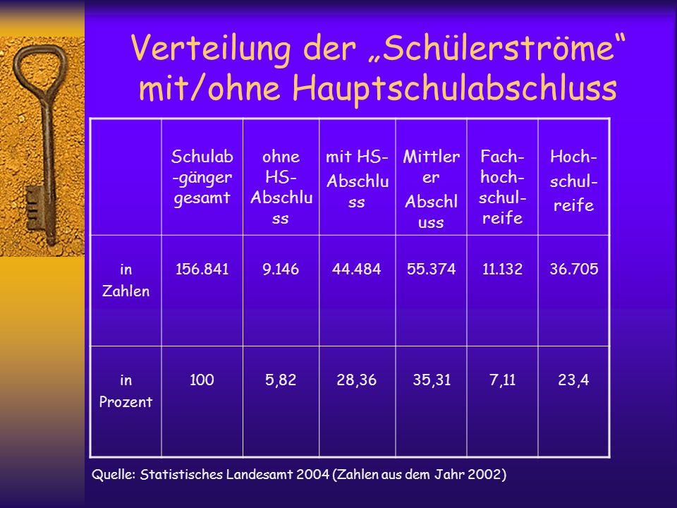 Verteilung der Schülerströme mit/ohne Hauptschulabschluss Schulab -gänger gesamt ohne HS- Abschlu ss mit HS- Abschlu ss Mittler er Abschl uss Fach- ho