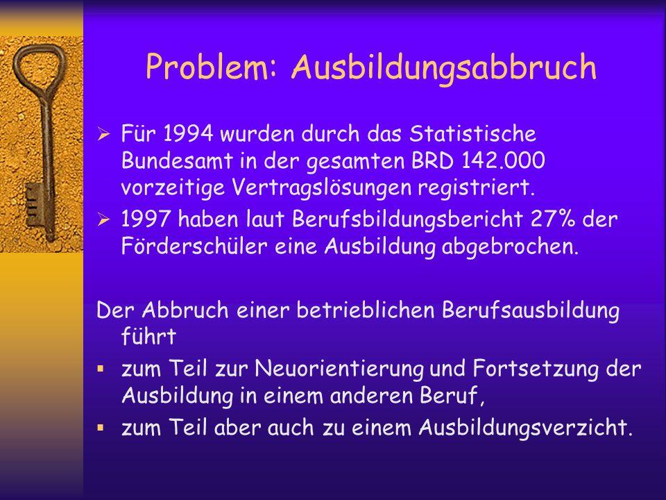 Problem: Ausbildungsabbruch Für 1994 wurden durch das Statistische Bundesamt in der gesamten BRD 142.000 vorzeitige Vertragslösungen registriert. 1997