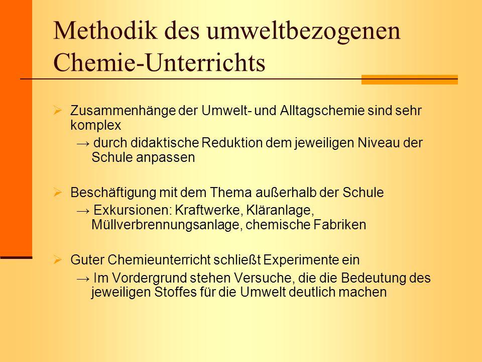 Methodik des umweltbezogenen Chemie-Unterrichts Zusammenhänge der Umwelt- und Alltagschemie sind sehr komplex durch didaktische Reduktion dem jeweilig