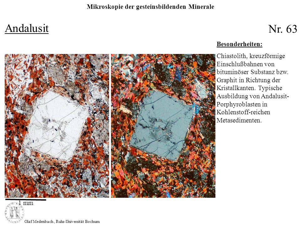 Mikroskopie der gesteinsbildenden Minerale Olaf Medenbach, Ruhr-Universität Bochum Andalusit Nr. 63 1 mm Besonderheiten: Chiastolith, kreuzförmige Ein