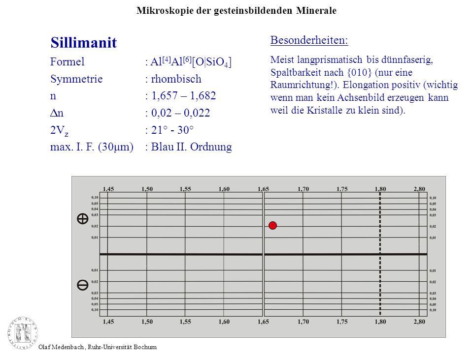 Mikroskopie der gesteinsbildenden Minerale Olaf Medenbach, Ruhr-Universität Bochum Sillimanit Formel: Al [4] Al [6] [O|SiO 4 ] Symmetrie: rhombisch n: