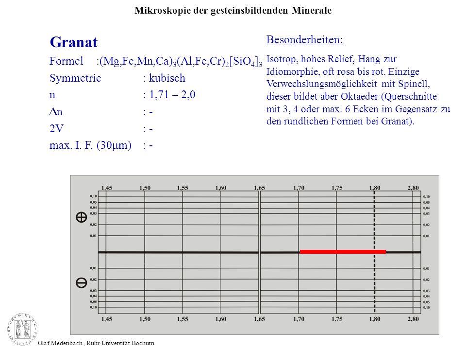 Mikroskopie der gesteinsbildenden Minerale Olaf Medenbach, Ruhr-Universität Bochum Granat Formel:(Mg,Fe,Mn,Ca) 3 (Al,Fe,Cr) 2 [SiO 4 ] 3 Symmetrie: ku