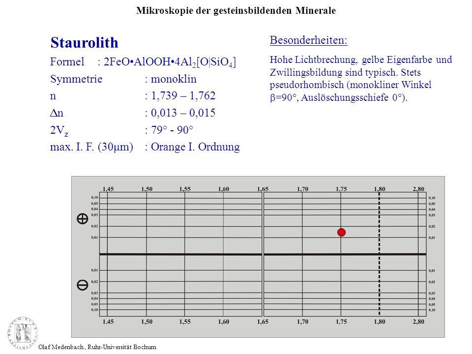 Mikroskopie der gesteinsbildenden Minerale Olaf Medenbach, Ruhr-Universität Bochum Staurolith Formel: 2FeOAlOOH4Al 2 [O|SiO 4 ] Symmetrie: monoklin n: