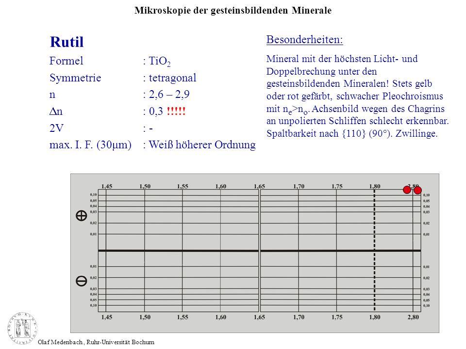 Mikroskopie der gesteinsbildenden Minerale Olaf Medenbach, Ruhr-Universität Bochum Rutil Formel: TiO 2 Symmetrie: tetragonal n: 2,6 – 2,9 n: 0,3 !!!!!