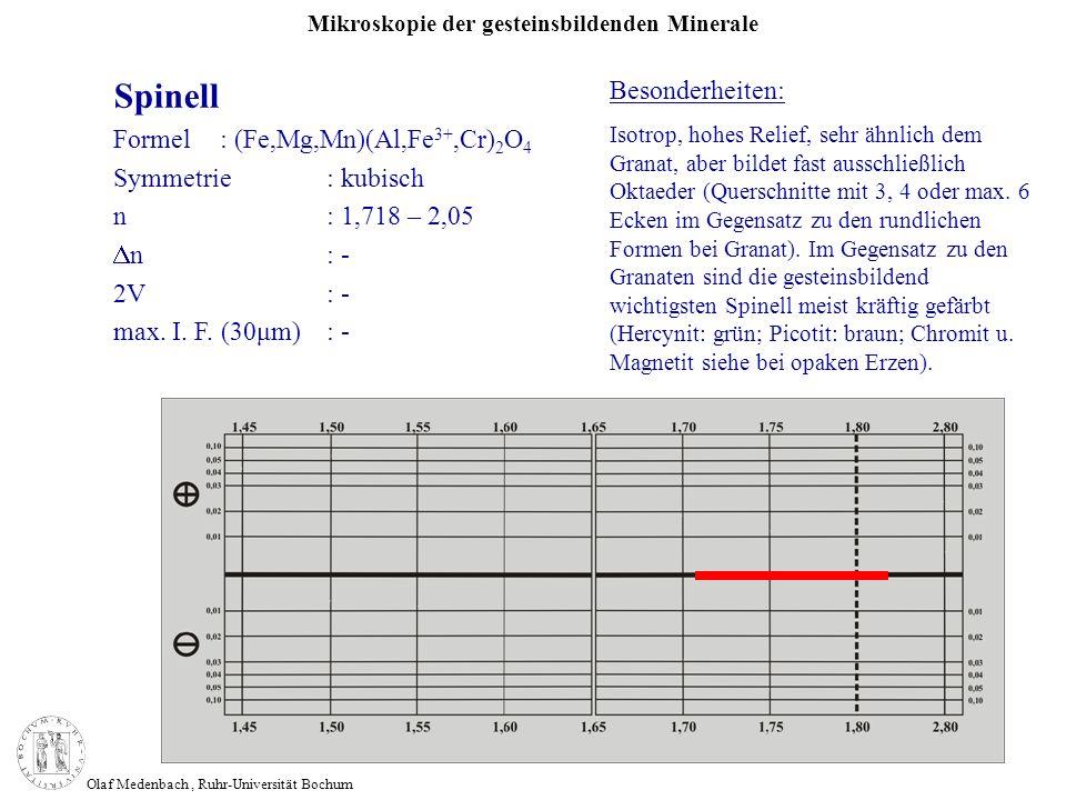 Mikroskopie der gesteinsbildenden Minerale Olaf Medenbach, Ruhr-Universität Bochum Spinell Formel: (Fe,Mg,Mn)(Al,Fe 3+,Cr) 2 O 4 Symmetrie: kubisch n: