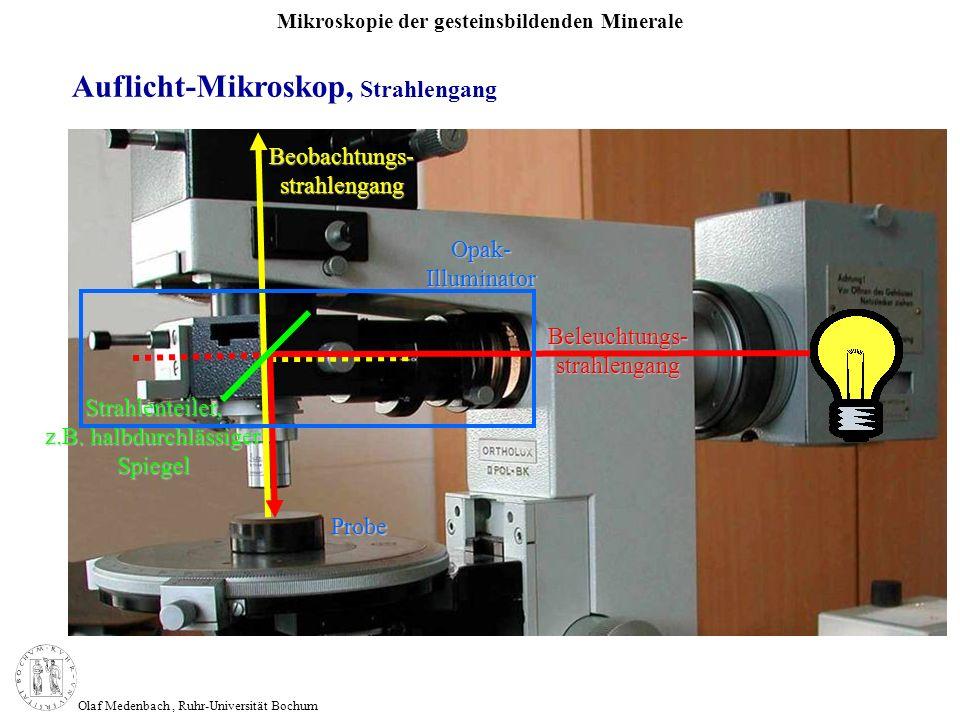 Mikroskopie der gesteinsbildenden Minerale Olaf Medenbach, Ruhr-Universität Bochum Auflicht-Mikroskop, Strahlengang Beobachtungs- strahlengang Beleuch