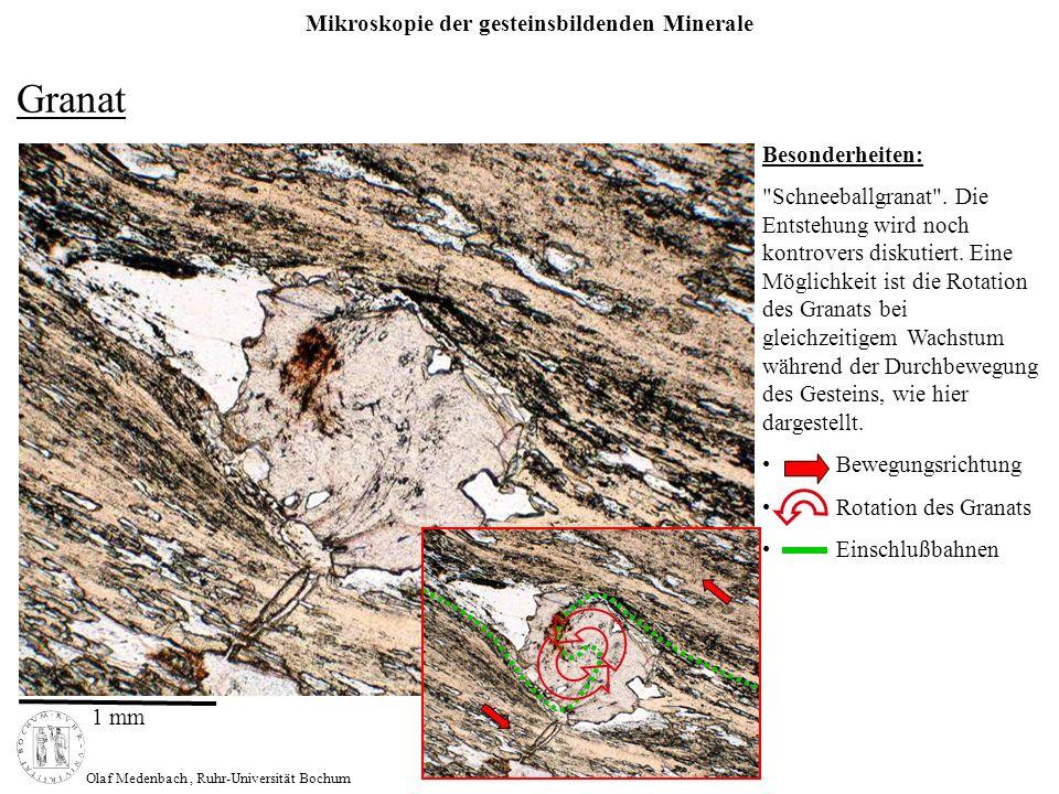 Mikroskopie der gesteinsbildenden Minerale Olaf Medenbach, Ruhr-Universität Bochum Korund Sonderschliff Besonderheiten: Kopfschnitt Längsschnitt neben Chloritoid und opakem Erz 0,5 mm