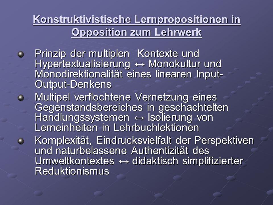 Konstruktivistische Lernpropositionen in Opposition zum Lehrwerk Prinzip der multiplen Kontexte und Hypertextualisierung Monokultur und Monodirektiona
