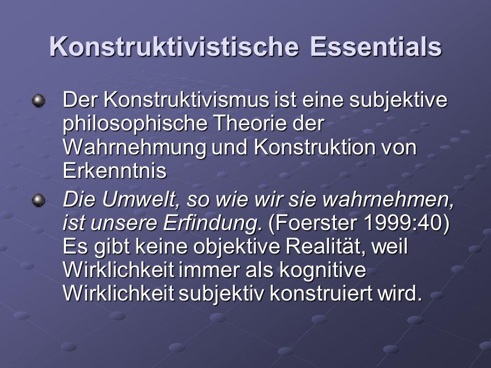 Konstruktivistische Essentials Der Konstruktivismus ist eine subjektive philosophische Theorie der Wahrnehmung und Konstruktion von Erkenntnis Die Umwelt, so wie wir sie wahrnehmen, ist unsere Erfindung.