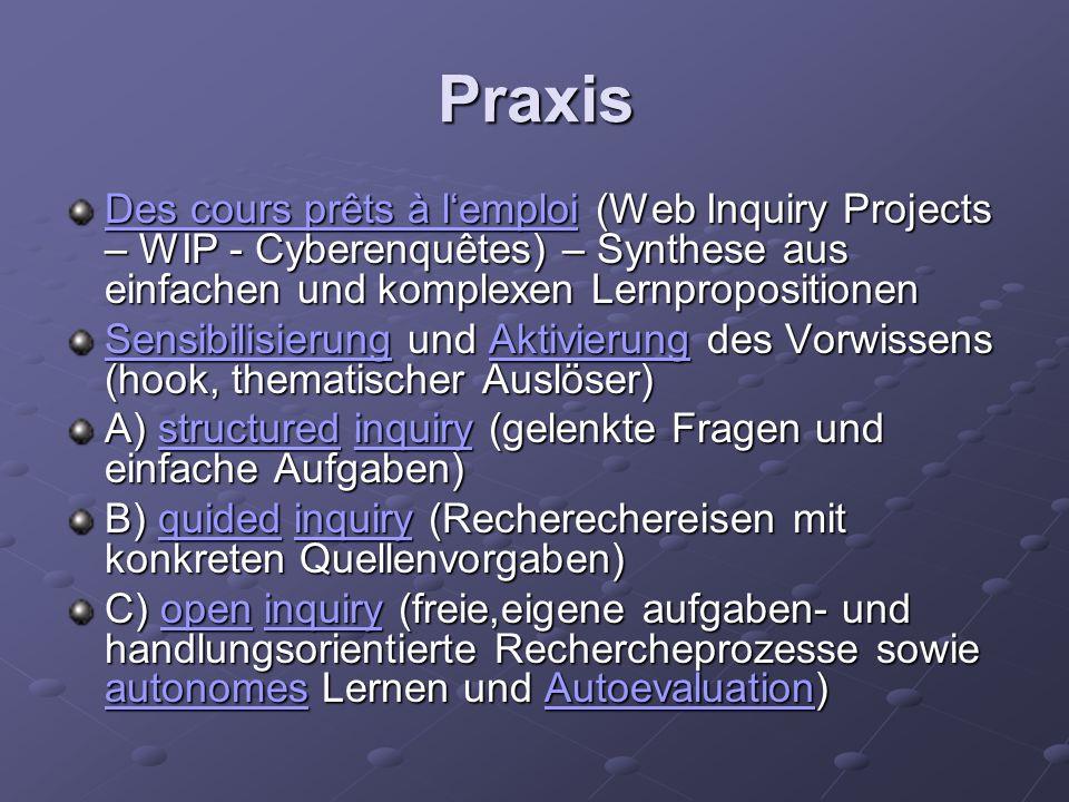 Praxis Des cours prêts à lemploiDes cours prêts à lemploi (Web Inquiry Projects – WIP - Cyberenquêtes) – Synthese aus einfachen und komplexen Lernprop