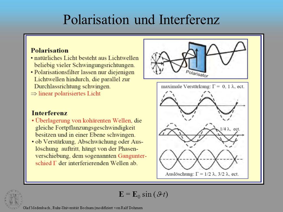 Olaf Medenbach, Ruhr-Universität Bochum (modifiziert von Ralf Dohmen Polarisation und Interferenz E = E 0 sin ( ·t)