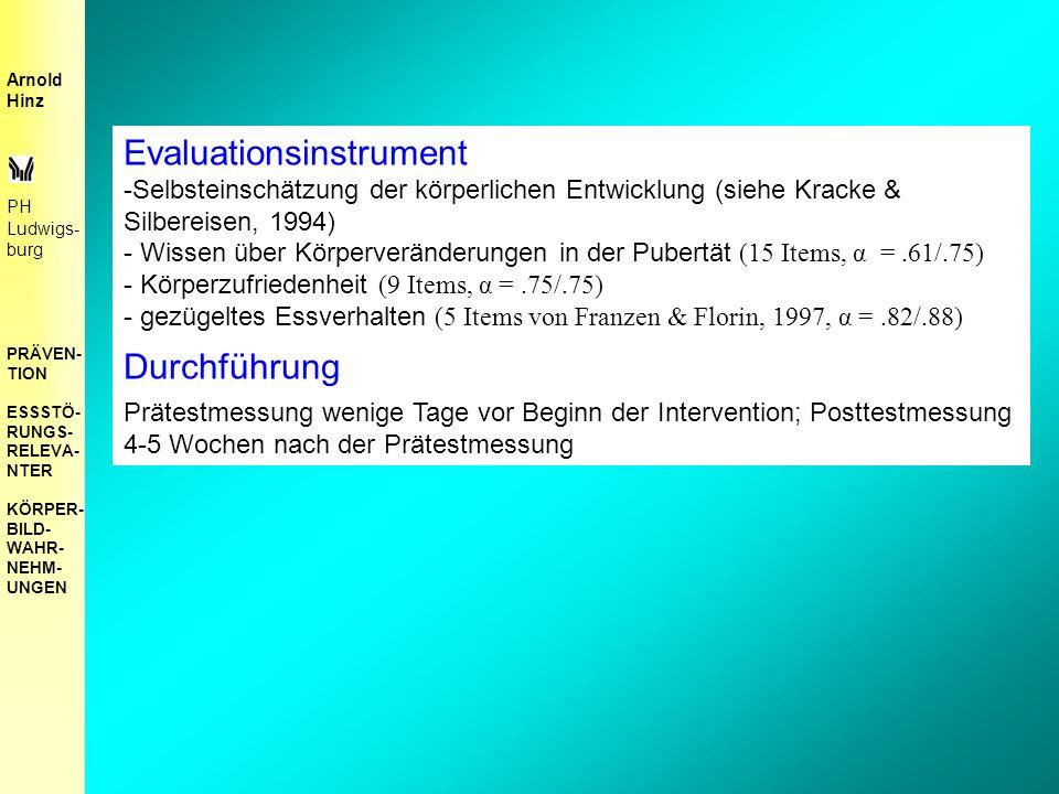 Evaluationsinstrument -Selbsteinschätzung der körperlichen Entwicklung (siehe Kracke & Silbereisen, 1994) - Wissen über Körperveränderungen in der Pubertät (15 Items, α =.61/.75) - Körperzufriedenheit (9 Items, α =.75/.75) - gezügeltes Essverhalten (5 Items von Franzen & Florin, 1997, α =.82/.88) Durchführung Prätestmessung wenige Tage vor Beginn der Intervention; Posttestmessung 4-5 Wochen nach der Prätestmessung Arnold Hinz PH Ludwigs- burg PRÄVEN- TION ESSSTÖ- RUNGS- RELEVA- NTER KÖRPER- BILD- WAHR- NEHM- UNGEN