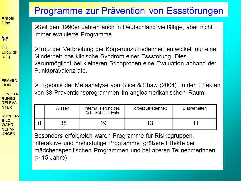 Programme zur Prävention von Essstörungen Seit den 1990er Jahren auch in Deutschland vielfältige, aber nicht immer evaluierte Programme Trotz der Verbreitung der Körperunzufriedenheit entwickelt nur eine Minderheit das klinische Syndrom einer Essstörung.