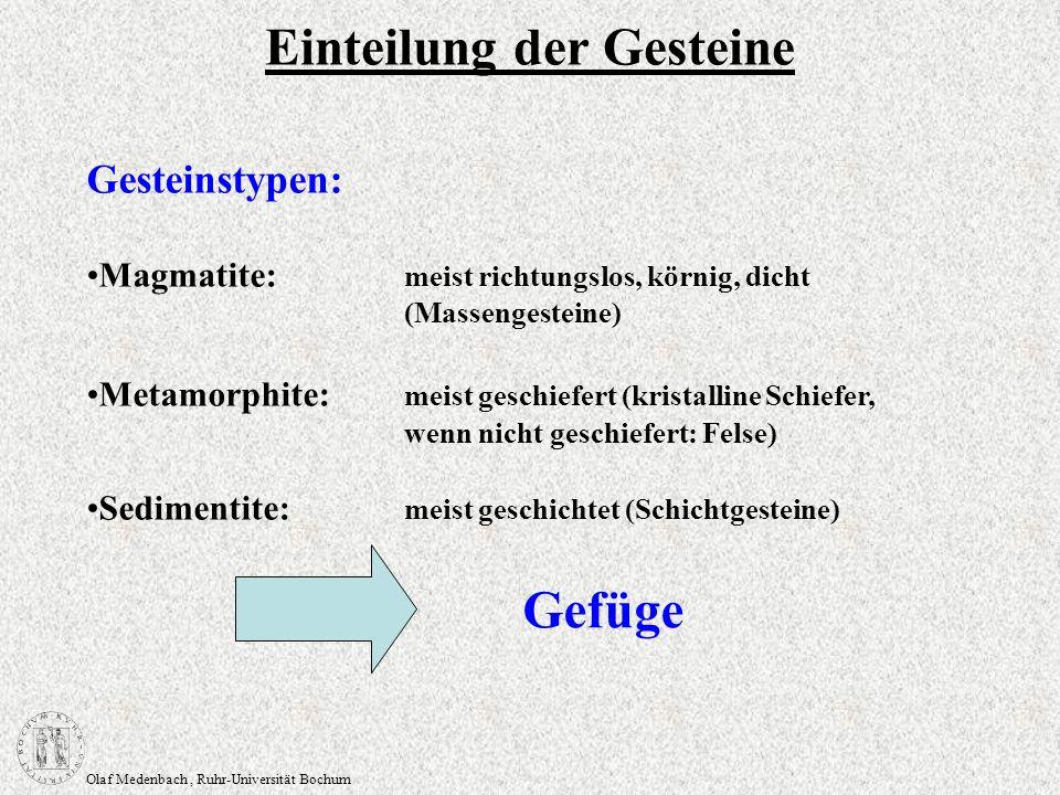 Olaf Medenbach, Ruhr-Universität Bochum Gesteinstypen: Magmatite: meist richtungslos, körnig, dicht (Massengesteine) Metamorphite: meist geschiefert (