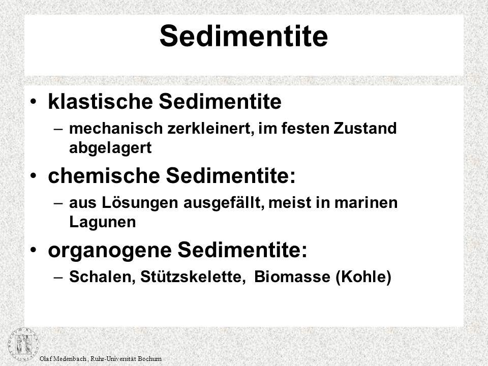 Olaf Medenbach, Ruhr-Universität Bochum Sedimentite klastische Sedimentite –mechanisch zerkleinert, im festen Zustand abgelagert chemische Sedimentite
