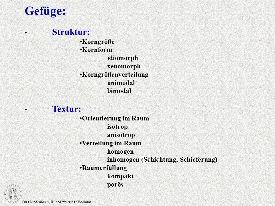 Olaf Medenbach, Ruhr-Universität Bochum Gefüge: Struktur: Korngröße Kornform idiomorph xenomorph Korngrößenverteilung unimodal bimodal Textur: Orienti