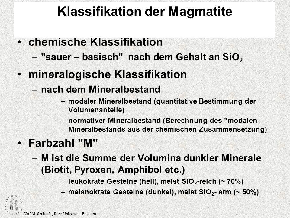 Olaf Medenbach, Ruhr-Universität Bochum Gefüge ungefüllte Blasen unregelmäßig, Kristalle dringen in den Hohlraum ein (miarolisch) Zwischenräume zwischen Feldspatleisten (Interstitien): diktytaxitisch Hohlräume gefüllte Blasen, Mandeln