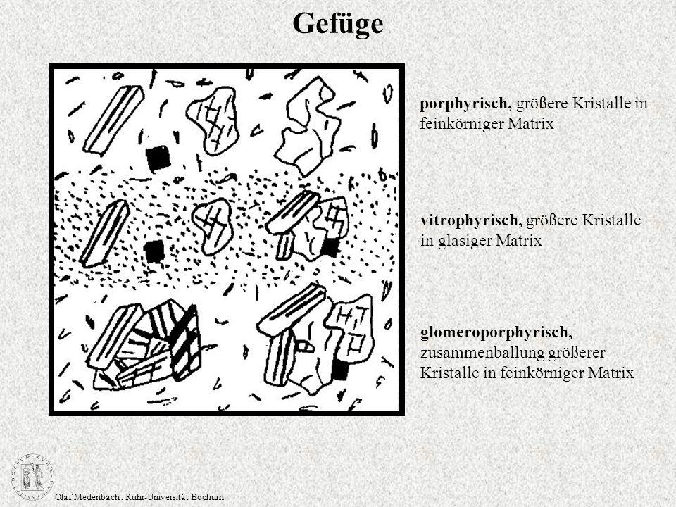 Olaf Medenbach, Ruhr-Universität Bochum Gefüge porphyrisch, größere Kristalle in feinkörniger Matrix vitrophyrisch, größere Kristalle in glasiger Matr