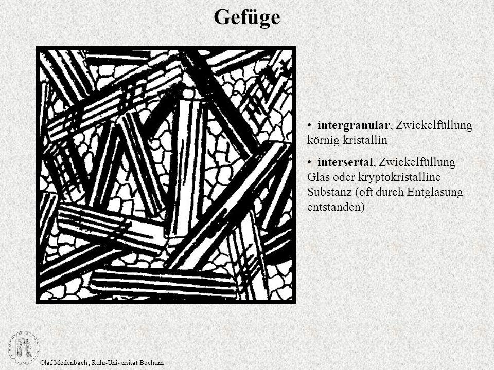 Olaf Medenbach, Ruhr-Universität Bochum Gefüge intergranular, Zwickelfüllung körnig kristallin intersertal, Zwickelfüllung Glas oder kryptokristalline