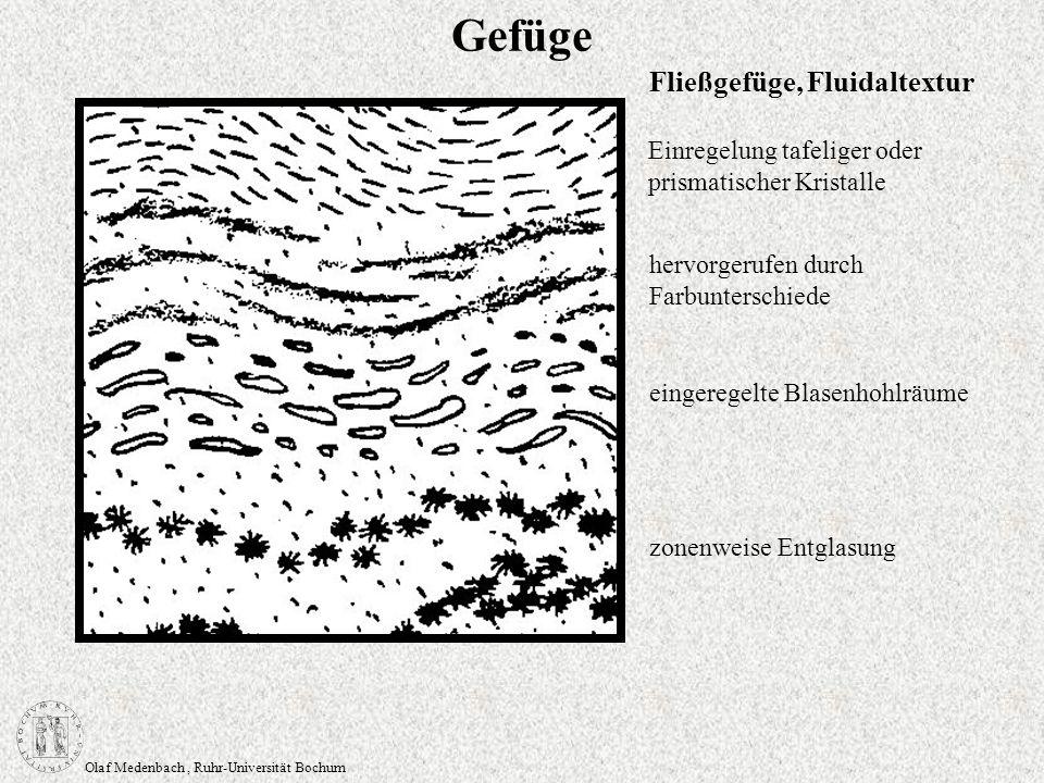 Olaf Medenbach, Ruhr-Universität Bochum Gefüge Einregelung tafeliger oder prismatischer Kristalle eingeregelte Blasenhohlräume zonenweise Entglasung F