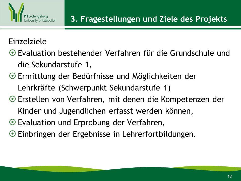 13 3. Fragestellungen und Ziele des Projekts Einzelziele Evaluation bestehender Verfahren für die Grundschule und die Sekundarstufe 1, Ermittlung der