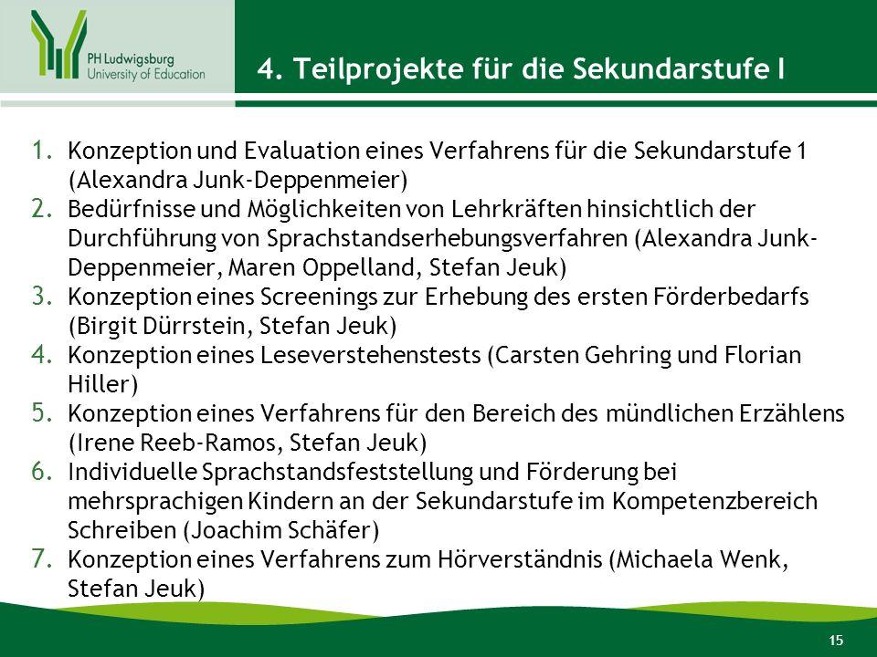 15 4. Teilprojekte für die Sekundarstufe I 1. Konzeption und Evaluation eines Verfahrens für die Sekundarstufe 1 (Alexandra Junk-Deppenmeier) 2. Bedür
