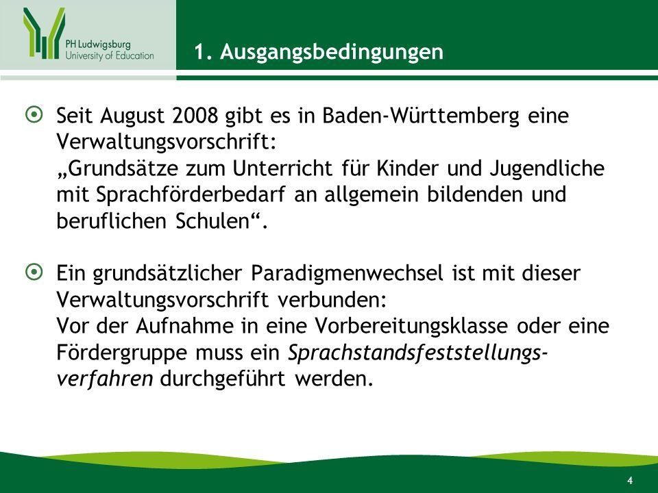 4 1. Ausgangsbedingungen Seit August 2008 gibt es in Baden-Württemberg eine Verwaltungsvorschrift: Grundsätze zum Unterricht für Kinder und Jugendlich