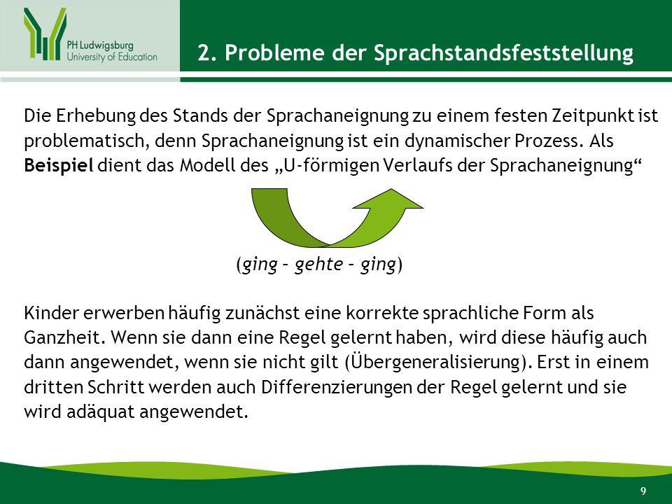 9 2. Probleme der Sprachstandsfeststellung Die Erhebung des Stands der Sprachaneignung zu einem festen Zeitpunkt ist problematisch, denn Sprachaneignu